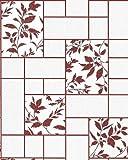 Küchen Tapete Badezimmer Tapete EDEM 146-24 Fliesen Kacheln Optik florales Muster weiß rot-braun