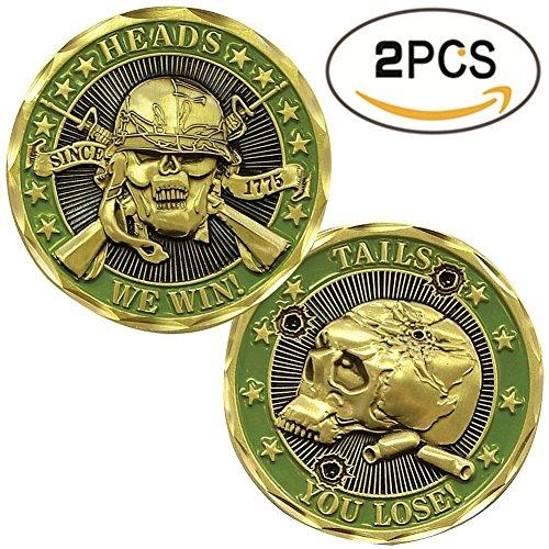 2pcs Set de retos monedas Deluxe Set de coleccionista | Jefes ganamos Tails You Lose moneda | cada caja w/una pantalla redonda de plástico caso