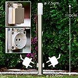 Außenstehleuchte Caserta mit 2 Steckdosen – Pollerleuchte mit E27-Fassung für max. 15 Watt – Wegeleuchte aus Edelstahl im modernen Design