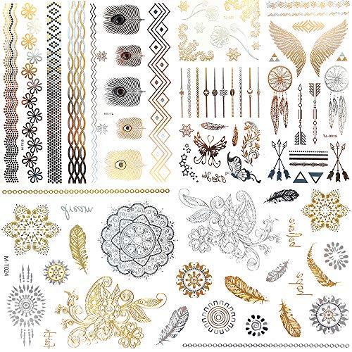 Tätowierung Wasserdicht Temporäre Klebe-Tattoos Körpereets in Gold Silber Aufkleber Körper Gefälschte Schmuck Tattoos Über 120 Designs für Frauen Jugendliche Mädchen Body Art 10 Blätter