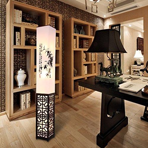 LightSei- Klassische chinesische Art Wohnzimmer Schlafzimmer Arbeitszimmer Raum Led Ausgehöhlte Schnitzen E27 führte Holz Stehlampe 18 * 18 * 139cm (Chinesische Stehlampe)