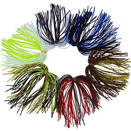 NO LOGO Libao-Lures, 10 stücke 13,6 cm Mischfarbe Angeln Gummi Jig Röcke 50 Stränge Silikon Rock Draht Mit Gummiring Fliegenbinden -