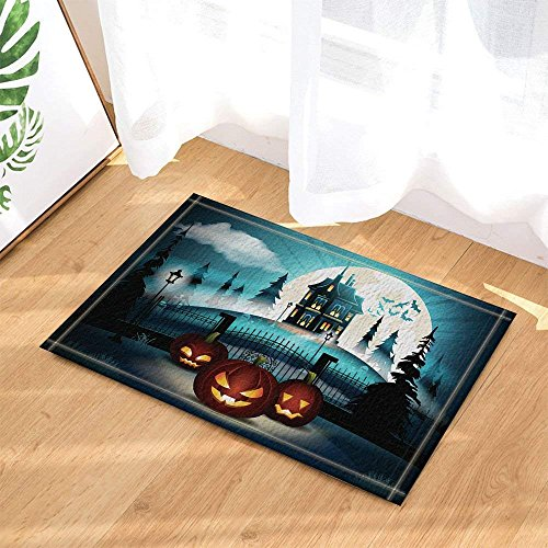 (cdhbh Halloween Kürbis mit Schloss in Kiefer Forest Decor Bad Teppiche rutschhemmend Fußmatte Boden Eingänge Innen vorne Fußmatte Kinder Badematte 39,9x 59,9cm Badezimmer Zubehör)