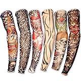 Hosaire Juego de 6 novedosas Diseños de la Novedad de la Roca Tatuaje Falso Mangas de Brazos/Piernas del Traje del Vestido del Estiramiento temporales Medias