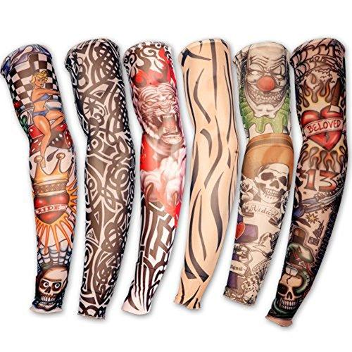 Aikesi 6 Unidades Novedad Falso Tatuaje Temporal Armas Piernas Mangas Medias Stretch Disfraz Traje Para Hombres Mujeres