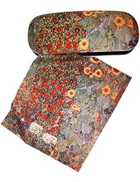 Set Brillenetui und Brillenputztuch Klimt - Bauerngarten blau von Artis Vivendi