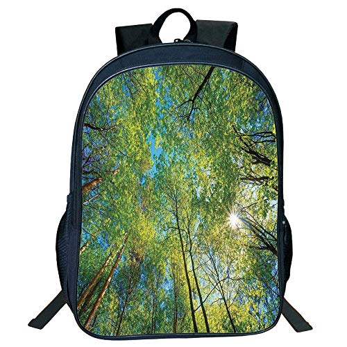 HOJJP Schultasche Stylish Unisex School Students Black Forest Home Decor,Evergreen Back Nature Area Mother Earth Lime Trunk Mangrove Flora Willow Decor,Green Kids, - Canvas-trunk