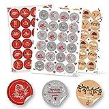 SET 3 x 24 Weihnachtsaufkleber Geschenkaufkleber weihnachtlich Sticker rund 4 cm grau weiß rot natur schwarz Verpackung Weihnachtsgeschenke Geschenkverpackung Weihnachten