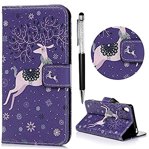 Xperia XA Case, Sony Xperia XA Case, Fashionable Pretty Patterns Premium PU Leather Painting Case Cover Magnetic Clasp Wallet Flip Case Built-in Stand Card Slots Cash Pouch With 1 x Stylus Pen For Sony Xperia XA - Elk