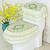 Mksfy Abattant WC Tissu dentelle 3pièces Fermeture Éclair Velcro Couvercle de réservoir d'eau, Vert