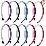 10 stuks glitter haarbanden, gemengde kleur glitter hoofdband kinderen haarband fluwelen bedekt hoofdband plastic hoofdband m