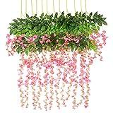 Vidillo Kunstblumen Blauregen 12 Stück 110cm künstlicher Glyzinien Wistarie hängend Seidenblüten Dekoration für Hochzeiten Hause Garten Party Partei-Dekor und besondere Ereignisse (Rosa)