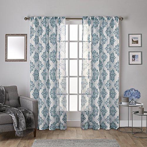 Rod Fenster-vorhang 108 (Exklusiv Home Vorhang Rod Pocket Top Fenster Vorhang PA, Polyester, blaugrün, 54x108)