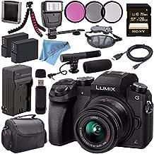 Panasonic Lumix DMC-G7 Mirrorless Camera With 14-42mm Lens (Black) DMC-G7KK + 46mm 3 Piece Filter Kit + DMW-BLC12 Lithium Ion Battery + External Rapid Charger + Sony 128GB SDXC Card Bundle