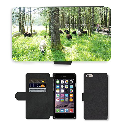 Just Mobile pour Hot Style Téléphone portable étui portefeuille en cuir PU avec fente pour carte//m00139739Sunshine Arbre moutons animaux bois//Apple iPhone 6Plus 14cm