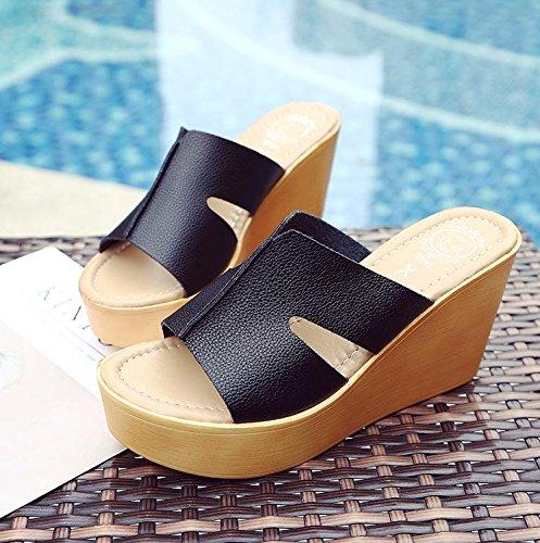 LvYuan Pantofole estive delle donne / Comfort Casual moda / tacco tallone / fondo spessa / piattaforma impermeabile / tacco alto / sandali / beach shoes Black