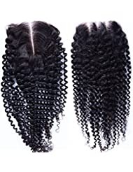 "Fureya Hair Brazilian Virgin Hair Human Hair Closure With Baby Hair Kinky Curly Top Lace Closure Part 8"" Naturl Black Bleached Knots (free part)"