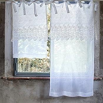 gardine vorhang scheibengardine bistrogardine 39 paulette 39 45 x 70 creme offwhite mit. Black Bedroom Furniture Sets. Home Design Ideas