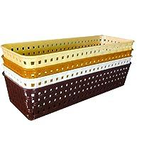 KSP HOME Plastic (Pack of 4) Multipurpose Desk Organizer Tray Office Drawer Dividers Storage Bins for Kitchen, Bathroom…