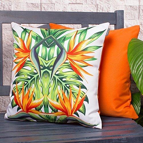 The Tropics Kissen, farbenfrohes, wasserfestes, mit Fasern gefülltes Kissen für draußen, ideal für Gartenstühle und Bänke. (Bank-kissen-muster)