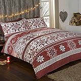 Stockholm Christmas 100% Baumwolle Feinbiber Bettwäsche Schneeflocke Weihnachts Quilt Bettbezug und 2Kissenbezüge Bett Set, grau/mehrfarbig, baumwolle, rot, Einzelbett