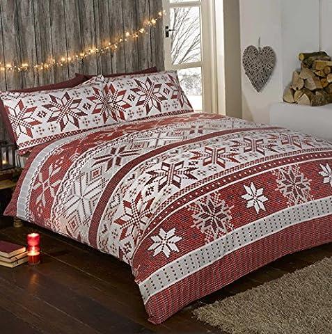 100% coton de Noël Flocon de Neige de Noël en flanelle parure de lit avec housse de couette et 2taie d