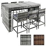 ESTEXO® Polyrattan Gartenbarset Lauda, Rattan Bar Stehtisch mit 6 Barhocker (Grau)