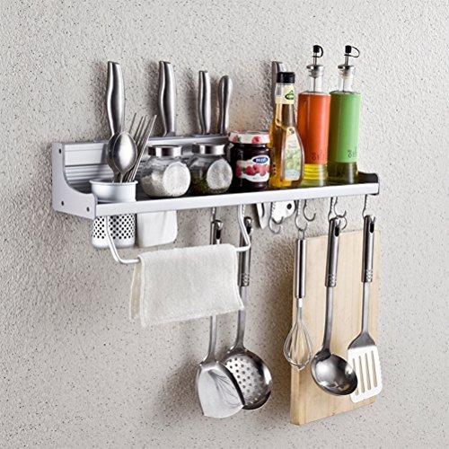 Wall Mounted Kitchen Spice Rack w/ Utensil / Pot / Pan Hanger Hooks, Silverware Caddy, Knife Slots (50cm-1 cup) (Hook Hanger Caddy)
