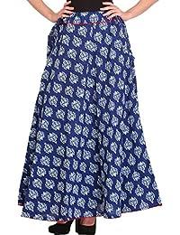 Exotic India Cotton wrap Skirt (STX26_ Blue_ Free Size)