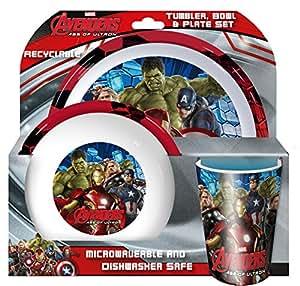 Spearmark Gourde Motif Marvel Avengers Age de Ultron Gobelet, Bol Et Assiette