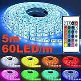 5m LED Streifen, ANNT Licht Strip RGB Band 5050 LED Lichterkette Leiste 60 LED/m bunt wasserdicht mit Fernbedienung + EU Netzadapter für Fest, Party, Hausgarten und Dekoration