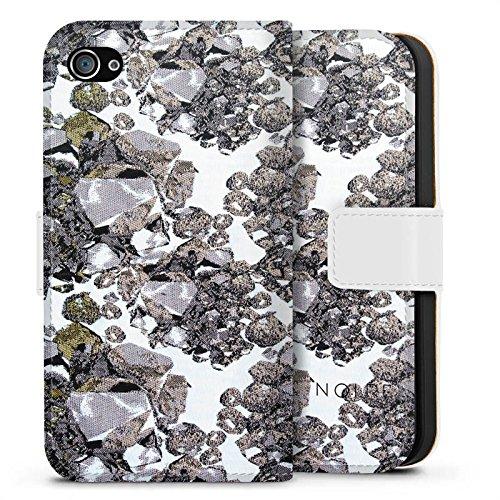 Apple iPhone X Silikon Hülle Case Schutzhülle Edelsteine Muster Steine Sideflip Tasche weiß