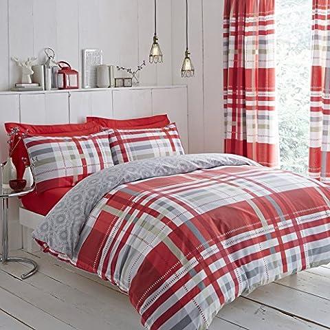 Moderno Charlotte Thomas Camden juego de ropa de funda de edredón funda de almohada, rojo/gris–tamaño