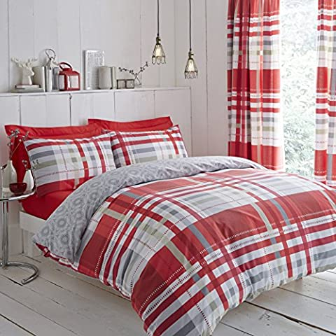 Modern Charlotte Thomas Camden Bedding Duvet Cover 2 Pillowcases Set, Red / Grey - King Size