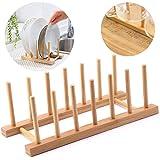 Ziyero Rack Plateau Rangement Porte Vaisselle Cuisine Plaque Bambou Egouttoir Verticale Support Bambou Assiettes pour Assiett