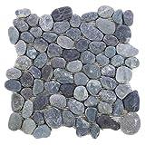 Divero Flusskiesel Flussstein Naturstein-Mosaik Fliesen für Wand Boden grau 11 Matten 30 x 30cm