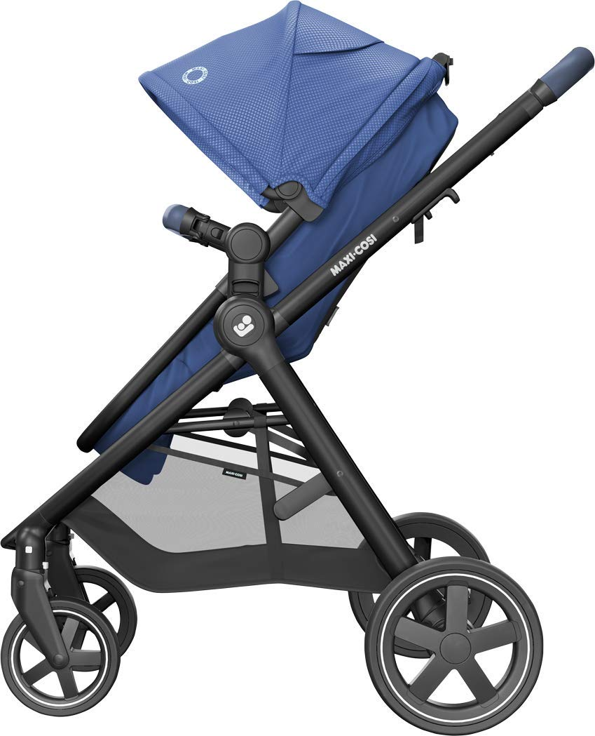 Maxi-Cosi Zelia Baby Pushchair, Lightweight Urban Stroller from Birth, Travel System with Bassinet, 15 kg, Essential Blue Maxi-Cosi Flexible stroller from birth to 3.5 years 2-in-1 seat unit: zelia's seat transforms into a pram bassinet for use from 0 - 12 m in a single movement This city stroller is easy to carry thanks to its lightweight 8