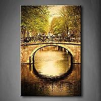 Amsterdam Holland Romantic Bridge over Canal Old Town Tree River veicolo Wall Art painting PICTURES Print on canvas Architecture The Picture for home decorazione moderna cornice in legno pronta da appendere