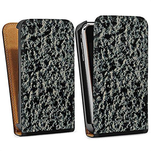 Apple iPhone 5s Housse Étui Protection Coque Roche volcanique Structure Motif pierre Sac Downflip noir