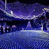 FROADP 6x4 m LED wasserdichte Indoor Outdoor Net lights Lichternetz Vorhang Lichter Netz Beleuchtung Deko Weihnachten Halloween Hochzeit Party oder Stimmung Lichter(Blau)