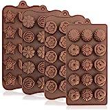 Yucool - Set di 4 stampi in silicone per cioccolatini e caramelle, con 15 cavità a forma di fiore, adatti per matrimoni, celebrazioni, feste e amanti del fai da te