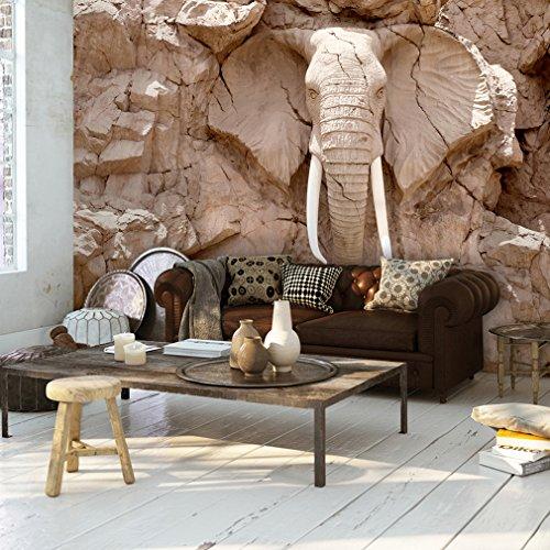 decomonkey | Fototapete Steinwand Steine 250x175 cm XL | Tapete | Wandbild | Bild | Fototapeten | Tapeten | Wandtapete | Wanddeko | Wand Dekoration WandDekoration | Elefant Skulptur Braun | FOB0194b5XL