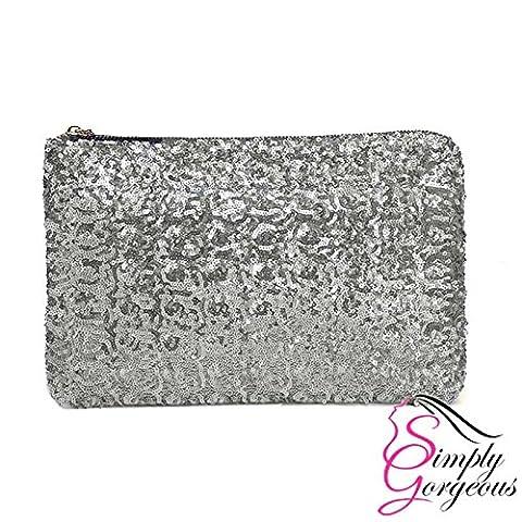 Womens Ladies Glitter Sparkling Sequins Handbag Evening Party Clutch Bag Purse - Silver