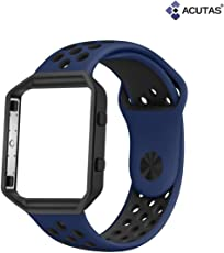 ACUTAS Sport Silicone Replacement Strap with Frame for Fitbit Blaze (Size:Large) (Black Frame with Black/Blue Strap)