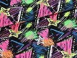 Leinen Lodge Baumwoll Jersey Neon Liebe Ecken auf schwarz *** 50 cm x 150 cm ***