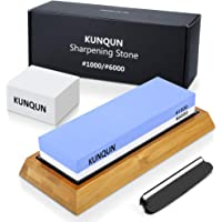 KUNQUN Sharpening Stone 1000 6000 Grits Two Sides Professional Whetstone Knife Sharpener, Premiun Water Whetstone on Non-Slip Silicone Holder & Bamboo Block, Includes Free Grinding Aid & Fix Stone