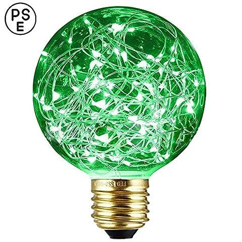 Dekoratives Licht Leuchtmittel, xinrong New Edison LED Sternenhimmel Kupfer Draht Lights E27Sockel 220V 1,6W energiesparender Vintage Buld für Innen Xmas Urlaub Anhänger Licht Dekoration, grün, 12.0 * 8.0cm