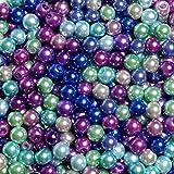 1000 Piezas 4mm Perlas Abalorios de Vidrio Redondos Cuentas de Perlas de Imitación de para Manualidades y Fabricación de Bisutería, 10 Colores, Imitaciones de Perlas