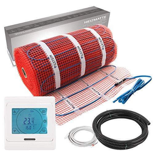 VILSTEIN© Elektrische Fußbodenheizung (10m² - 20m lang / 0,5m breit) Elektro Fußboden-Heizmatte 150W/m² für Fliesen-boden Fußboden-Heizsystem Elektrisch inkl. Thermostat TWIN Technologie Komplett-Set