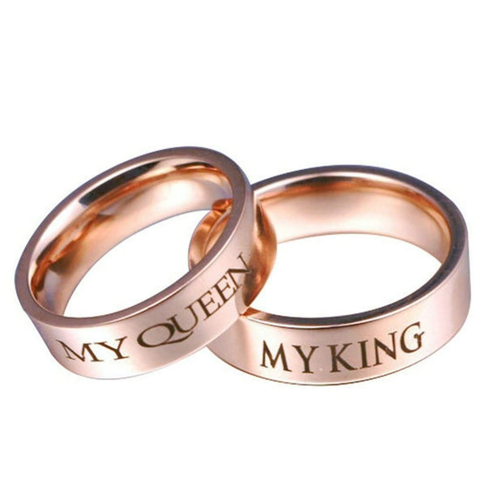 Beydodo His and Hers Wedding Ring Sets Rose Gold Stainless Steel Ring Set Engraved My Queen and My King Size J 1/2-Z 1/2